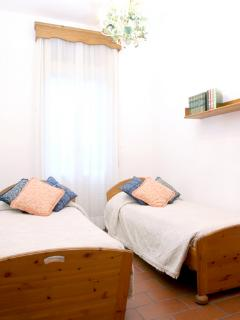 The bedroom twin beds