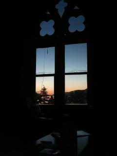 Midnight sun through the living room window