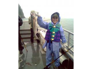 Madeleine and her 1st silver salmon