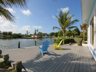 Enjoy the view across Bimini Bay from the deck at Honeyfish