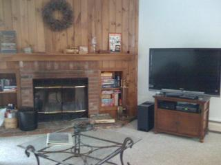 Flat Screen LCD HD TV, ipod docking stereo system and wood burning fireplace, wood provided