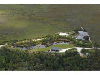 arial shot of cottage