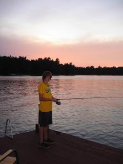 Fishing off the Dock at Sunset