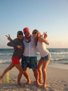 Me and my beach loving crazy daughters. They must have taken after their Mom.