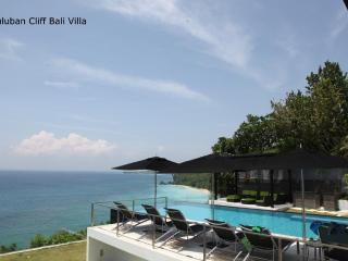 Suluban Cliff Villa view of pool terrace and  oceanfront spaces.