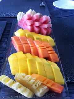 Breakfast tropical fruit platter at Suluban Cliff Villa