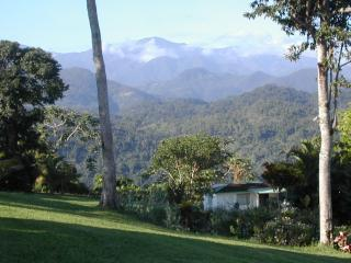 view of cottage and blue mountains