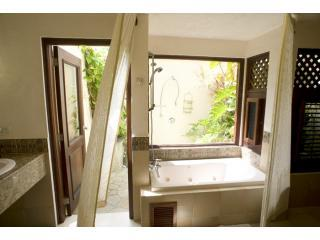 Royal Palm Suite bath with Tropical Outdoor Shower