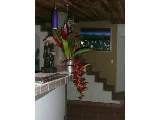 Flowers and Art in Kitchen