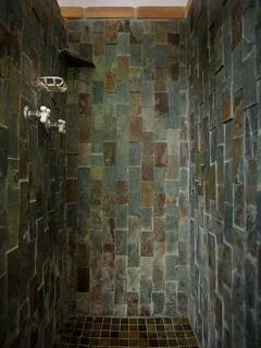 Alpine slate shower.