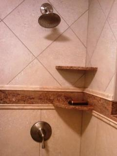 New ceramic & granite walk-in master shower