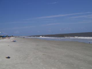 sandy beach across the street