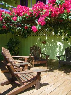 Our bougainvillea deck (almost at sand level)