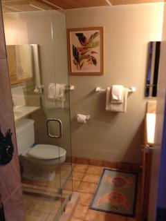 bathroom remodel 8/13: glass-enclosed tiled shower with bamboo-paneled ceiling