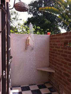 The master bedroom outdoor shower