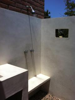 The outdoor pool bathroom