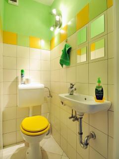 Spring-coloured toilet (next to bathroom)