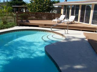Swimming pool, sundeck; back of house.