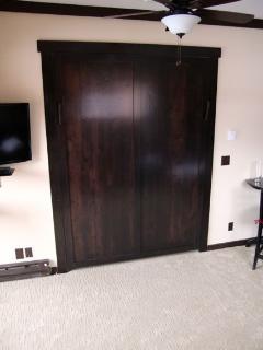 Beautiful hardwood murphy bed door