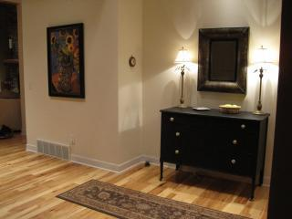 Hickory hardwood floors on the first floor mean easy cleanup for a carefree getaway