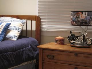 Comfy beds with decorator decor that add a special touch to your vacation