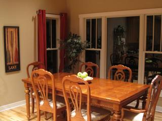 Eighteen guests can sit in the great room with tables, chairs, dishes provided