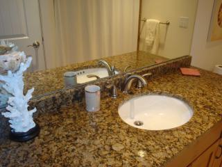 This first floor bath is convenient with high quality amenities - piles of soft, fluffy towels