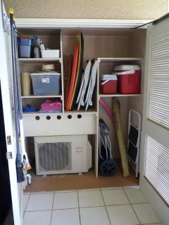Lanai storage closet with beach items