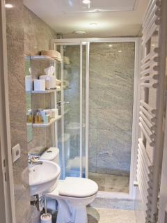 Bright guest bathoom with shower