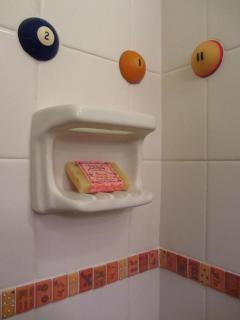Soap Dish with pool balls & dice