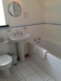 Modern Fully Tiled Bathroom with Shower over Bath (Lower)