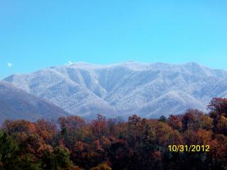 View of Mt. LeConte from the deck.