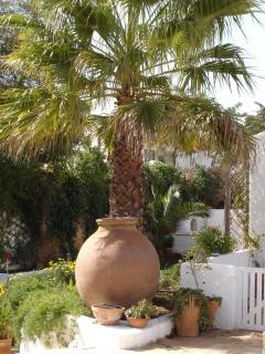 antique pots and palm