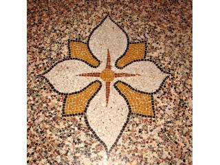 Mosaic terrazzo floors were hand-made by 19th century craftsmen