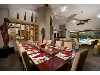Eclectic dining room for 10