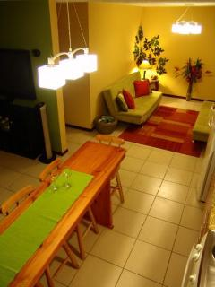 An aerial view of the dining bar & living area