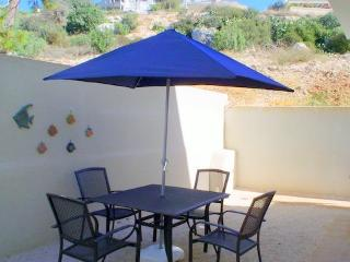 Patio fully furnished with distant sea view