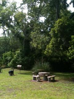 Then we have an open area with gas grills and two tables.  And live oaks for shade.