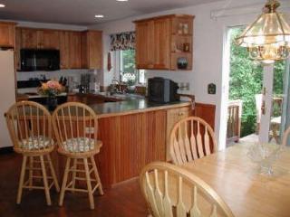 Kitchen sliders open to deck