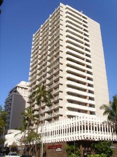 Exterior facade of the Marine Surf Waikiki.