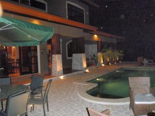The pool and deck after dark