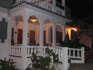 Front view of the villa in the evening