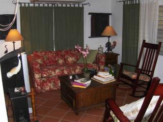 Living Room has comfortable pull-out sofa, TV/DVD, games