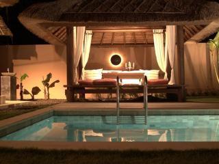 Pool gazebo by night