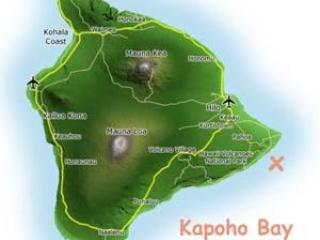 map of the Big Island, we are at the southeast corner 40 minutes south of Hilo airport