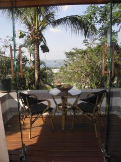 The terrace, upper annexe, with fabulous views over Bangtao bay.