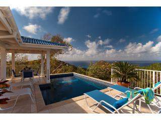 Pool and Gazebo with 2000 sq ft travertine deck and 150 degree views of Caribbean Sea