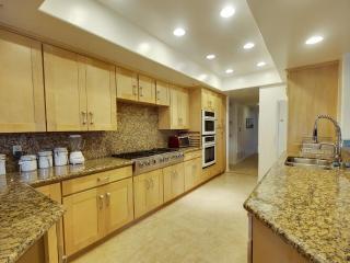 gourmet kitchen with granite and travertine