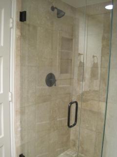 New glass shower.