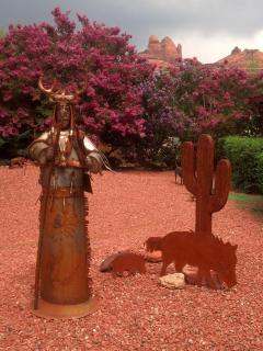 Sedona Shaman in front yard on a cloudy day